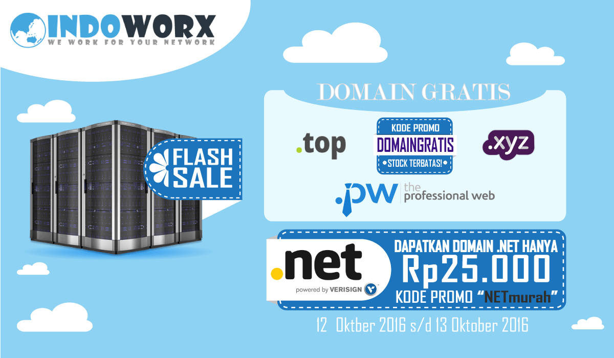 Promo Domain Gratis .PW / .TOP / .XYZ dan Domain Murah .NET