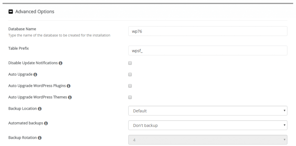 Advanced Options WordPress Softaculous