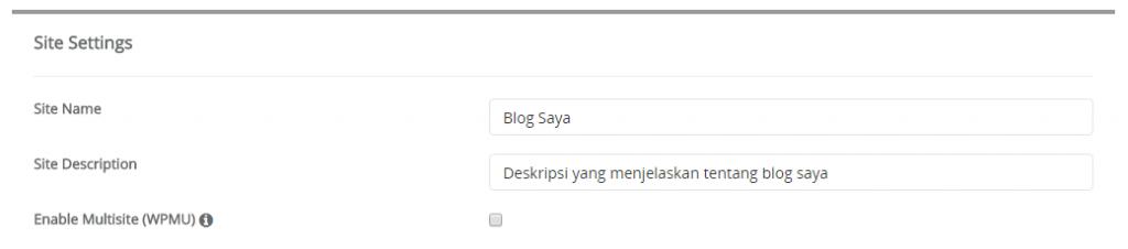 Pengaturan Site Settings pada instalasi wordpress di softaculous